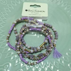 Riah Fashion Beaded Bracelet Set Lilac Purple Gold